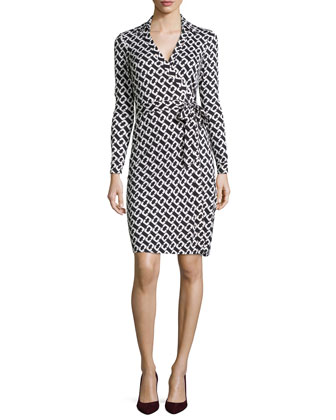 New Jeanne Chain-Link Jersey Wrap Dress