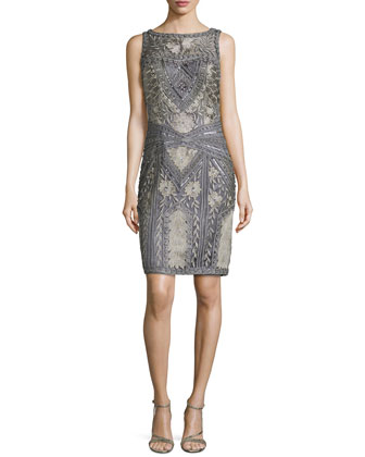 Floral Embroidered Beaded Sheath Dress