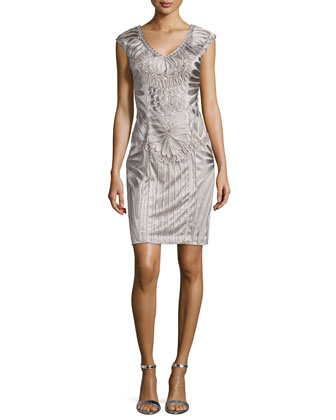 Sleeveless Embroidered Cocktail Dress, Platinum