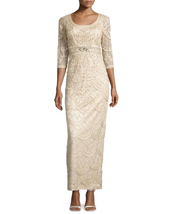 Lace Scoop-Back Gown, Champagne
