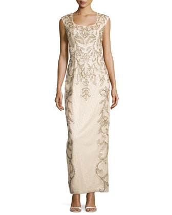 Draped-Back Beaded Long Column Gown, Champagne