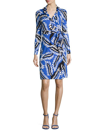 New Jeanne Long-Sleeve Jersey Wrap Dress
