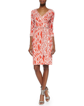 New Julian Ikat-Print Wrap Dress