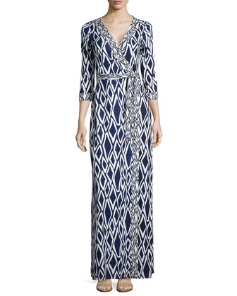 New Julian Ikat-Print Maxi Wrap Dress