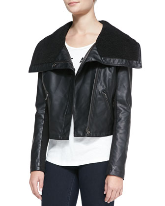 Faux-Sherpa Lined Faux-Leather Jacket, Black