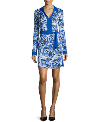 Long-Sleeve Printed & Belted Dress