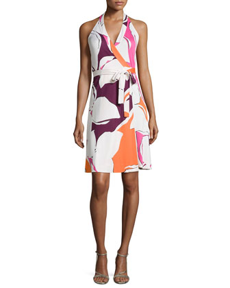 Amelia Halter Wrap Dress in Silk Jersey