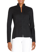 Kerry Zip-Front Blouse W/ Stand Collar