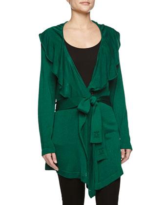 Ruffle-Collar Wrap Cardigan, Green
