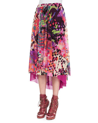 Abstract Printed Handkerchief High-Low Skirt
