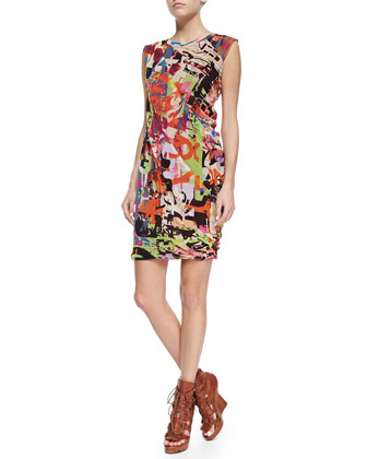 Sleeveless Abstract-Print Dress with Ruching