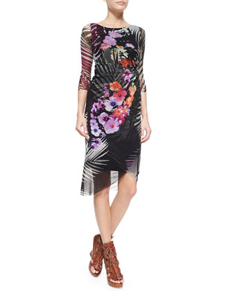 Faux-Wrap Jungle-Print Dress