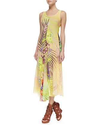 Sleeveless Print Dress with Asymmetric Hem