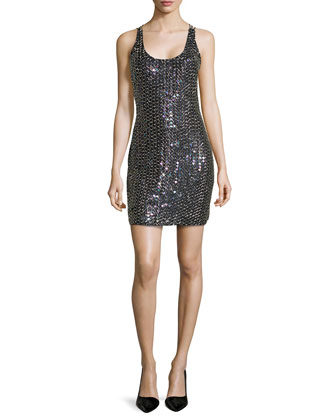 Scoop-Neck Racerback Beaded Cocktail Dress