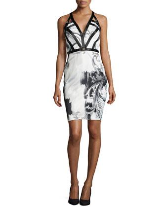 Sleeveless Plunge-Print Dress