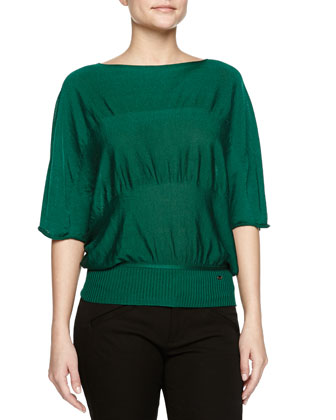 Batwing-Sleeve Ruched Knit Top