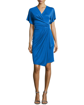 Short-Sleeve Wrap Dress, Bluette