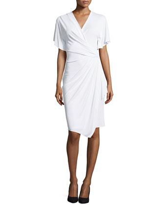 Short-Sleeve Wrap Dress, White