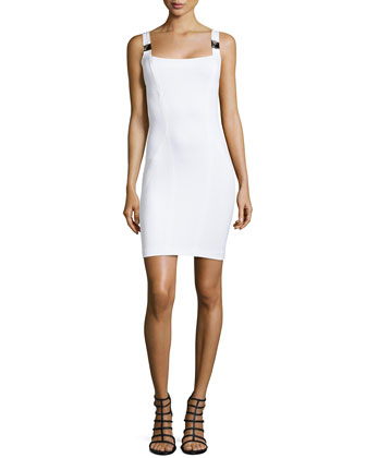Sleeveless Body-Conscious Dress, White