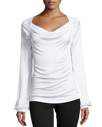 Long-Sleeve Draped-Neck Blouse, White