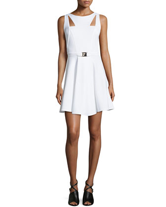 Sleeveless Cutout A-line Dress, White
