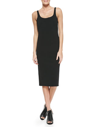 Nile Stretch-Knit Scoop-Neck Dress, Caviar