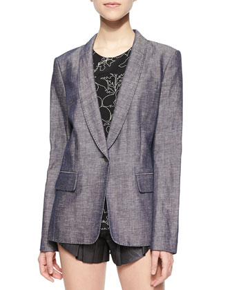 Natalie Long Chambray Blazer, Patricia Floral-Print Silk Top & Goa Leather ...