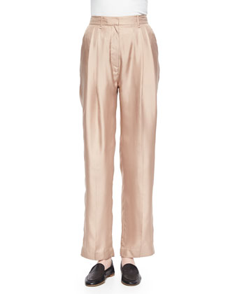Sally Pleated Wide-Leg Shantung Pants
