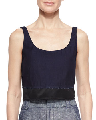 Elsa Two-Tone Twill Crop Top, Indigo