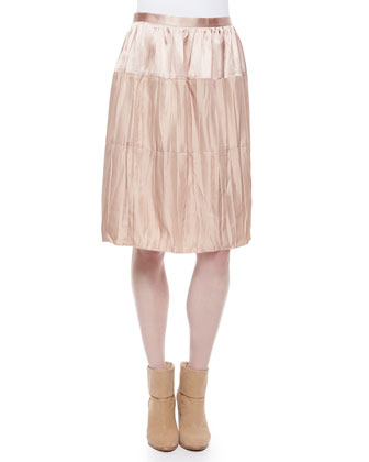 Cassie Pattern-Stripe V-Neck Top & Maria Crinkled Tiered Satin Skirt