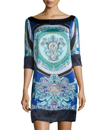 3/4-Sleeve Printed Silk Tunic Dress