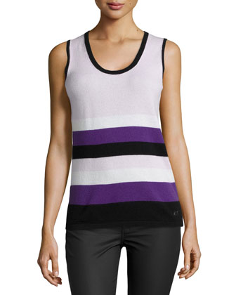 Sleeveless Scoop-Neck Striped Knit Top