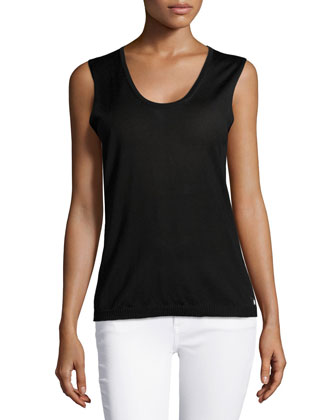 Sleeveless Scoop-Neck Knit Top, Black