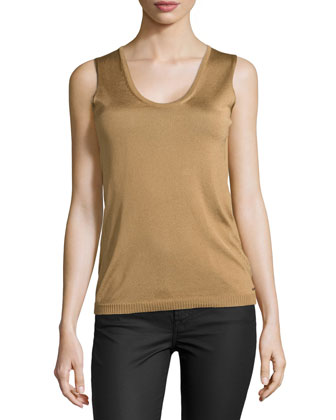 Sleeveless Scoop-Neck Knit Top, Brass