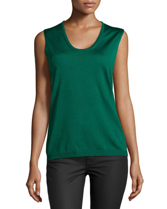 Sleeveless Scoop-Neck Knit Top, Smaragd