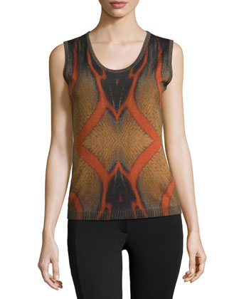 Sleeveless Printed Knit Top