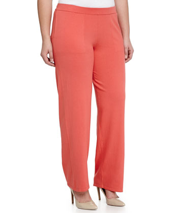 Straight-Cut Knit Pants, Poppy