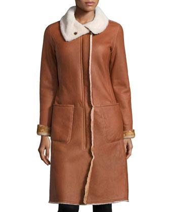 Reversible Shearling Fur-Trimmed Long Leather Coat, Cognac