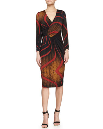 Tiger-Print Faux-Wrap Dress