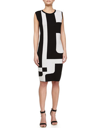 Geometric-Print Sheath Dress