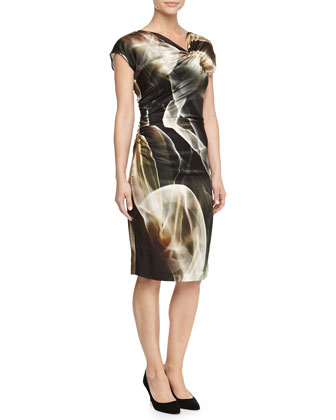 Asymmetric-Neck Printed Jersey Dress