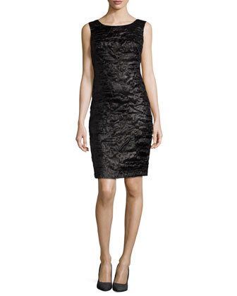 Sleeveless Puckered Sheath Dress, Black