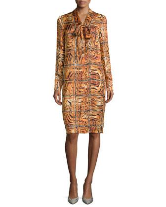 Long-Sleeve Animal-Print Shift Dress