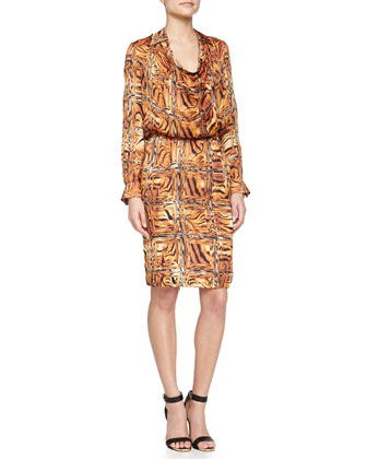 Cowl-Neck Printed Dress W/ Trim