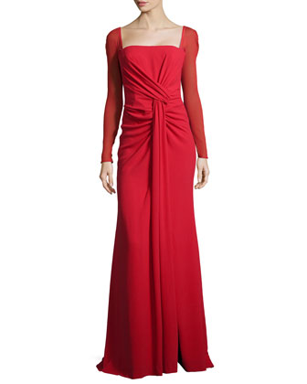 Long-Sleeve Silk-Stretch Mermaid Gown, Lacquer