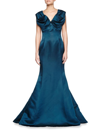 V-Neck Sleeveless Silk Charmeuse Gown