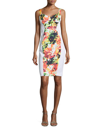 Sadie Floral-Print Paneled Sheath Dress