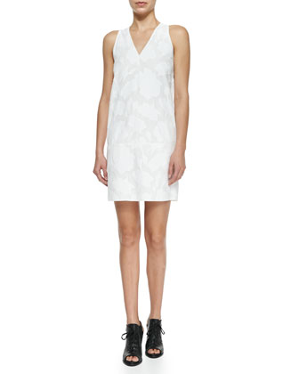 Augusta Embossed Dress, Bright White