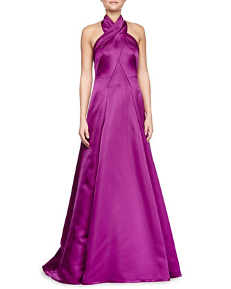 Charmeuse Gown with Crisscross Halter