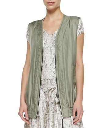 Shiny Twill Zigzag Vest & Salem Tie-Waist Ruffle-Hem Dress